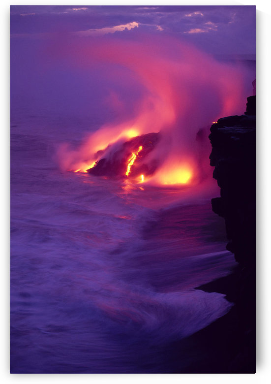 Hawaii, Big Island, Volcano Lava Meets The Sea, Steam Rising, Twilight A28E by PacificStock