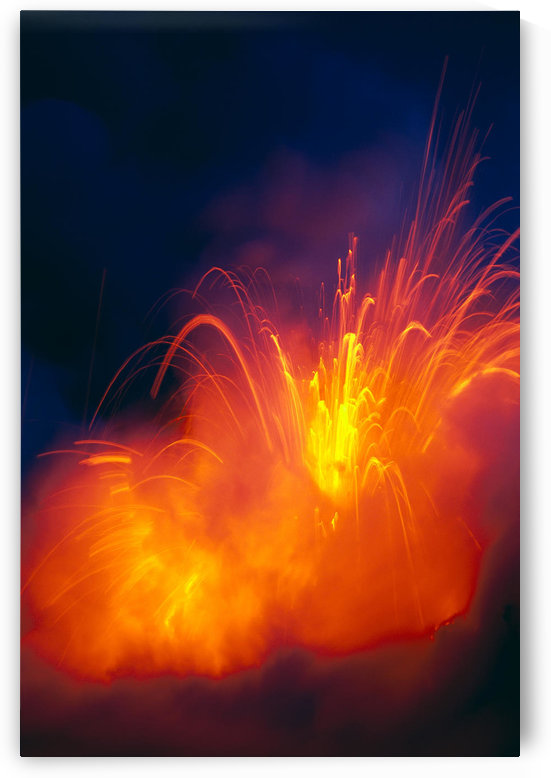 Hawaii, Big Island, Hawaii Volcanoes National Park, Lava Exploding As Flow Hits Ocean, Nighttime A28G by PacificStock