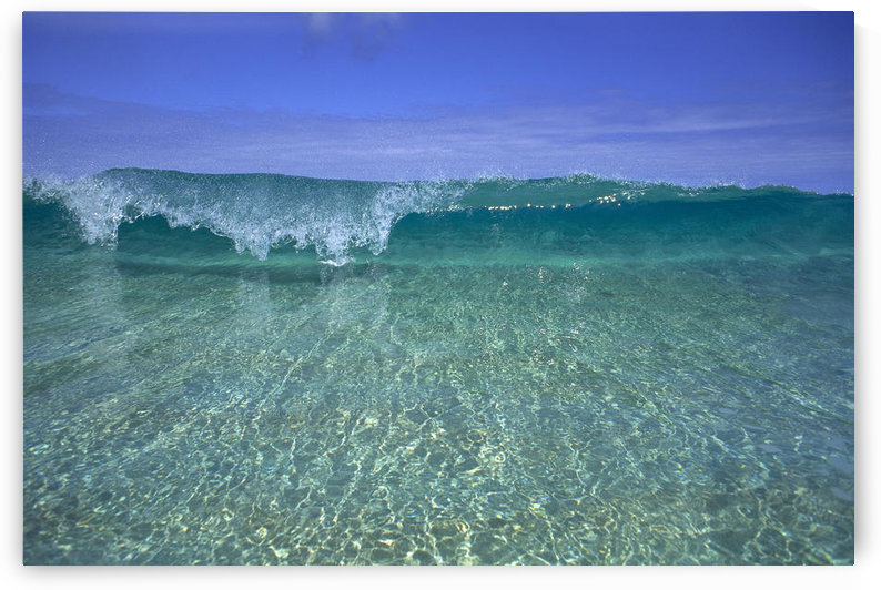 Hawaii, Front View Of Shallow Crystal Clear Aquamarine Wave, Curling A30D by PacificStock