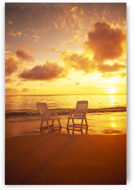 Beach Chairs Along Shoreline At Sunset B1466 by PacificStock