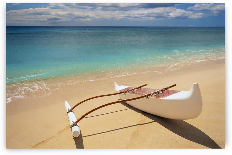 White Outrigger Canoe On Shoreline With Shadow, Calm Turquoise Water by PacificStock