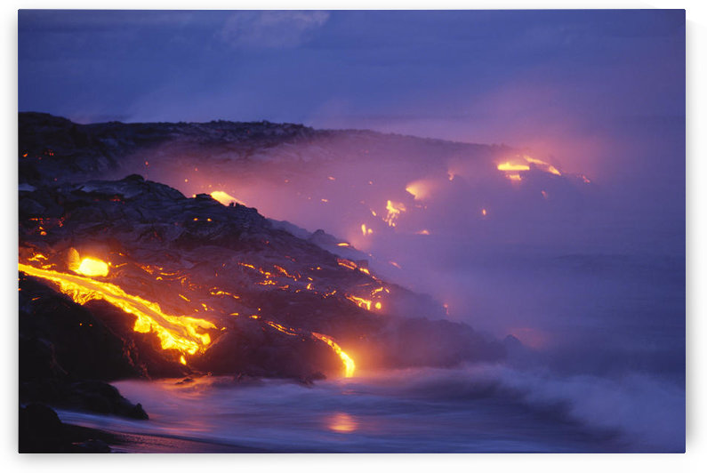 Hawaii, Big Island, Kilauea, Lava Flow Into Ocean At Twilight, Smoke Orange Glow C1623 by PacificStock