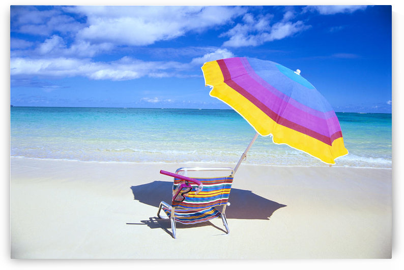 Beach Chair And Umbrella With Snorkel Gear, Turquoise Ocean And Blue Skies C1759 by PacificStock