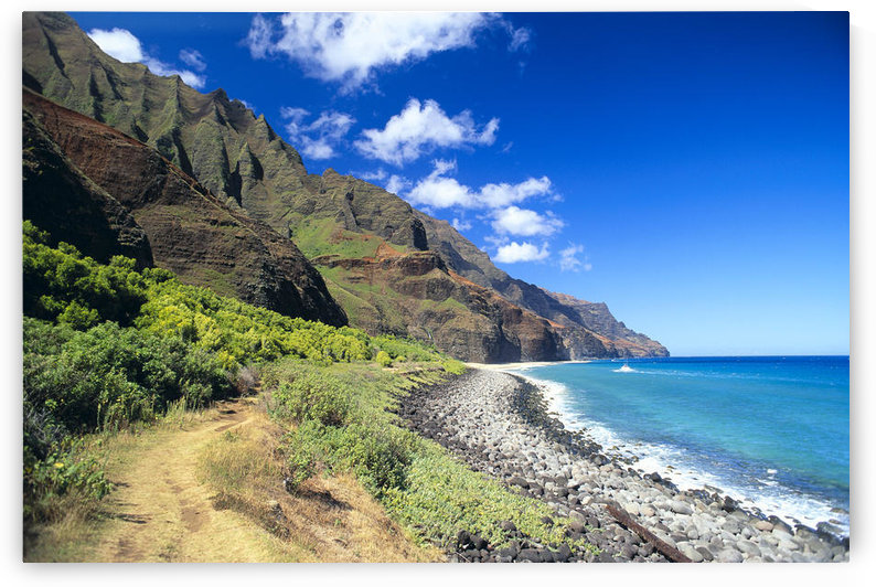 Hawaii, Kauai, Na Pali Coast, Scenic Coastline, Beach, Boat In Ocean, Blue Skies C1541 by PacificStock