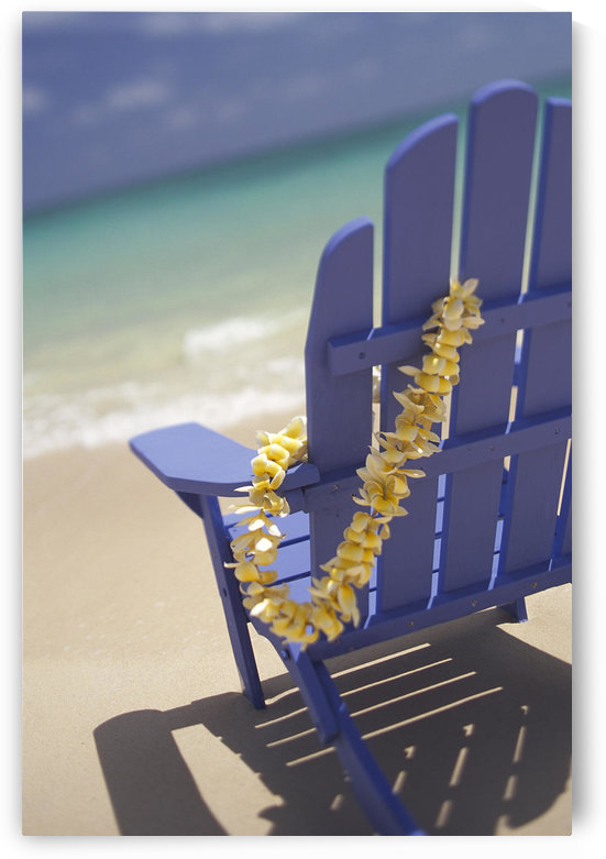 Close-Up Side Of Blue Beach Chair With Plumeria Hanging On Side by PacificStock