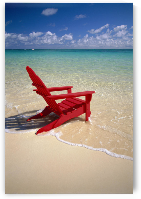 Red Beach Chair Along Shoreline, Turquoise Ocean, Calm by PacificStock