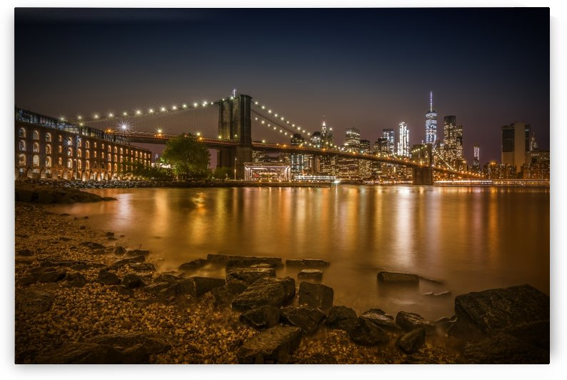 MANHATTAN SKYLINE & BROOKLYN BRIDGE Nightly Stroll along the river bank by Melanie Viola