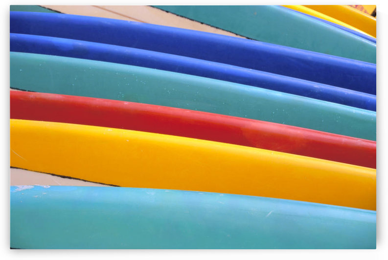 Detail Of Many Different Colored Surfboards, Straight Up by PacificStock