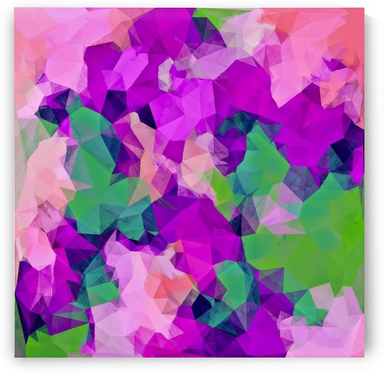 psychedelic geometric polygon pattern abstract in pink purple green by TimmyLA