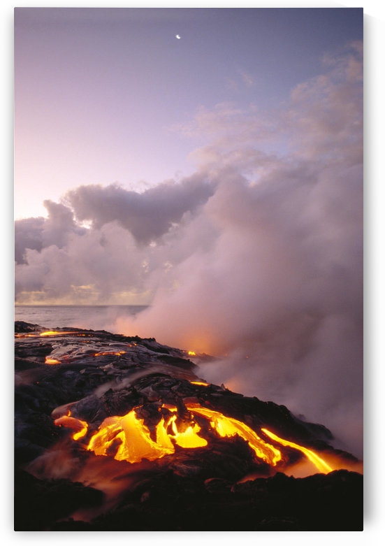 Hawaii, Big Island, Hawaii Volcanoes National Park, Sunrise At Ocean Front With Lava Flow, Smoky Skies by PacificStock