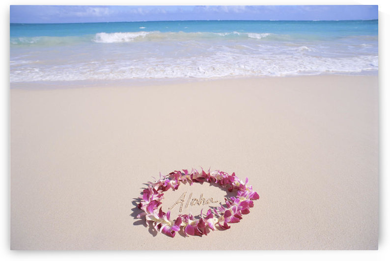 Hawaii, Purple Orchid Lei, Aloha Written In The Sand, Turquoise Ocean Background by PacificStock