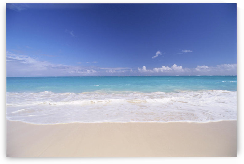 Hawaii, Pristine White Sand Beach With Clear Turquoise Water, Blue Sky On Horizon by PacificStock