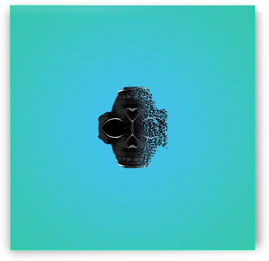 fractal black skull portrait with blue abstract background by TimmyLA
