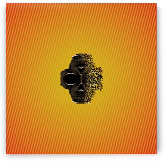 fractal black skull portrait with orange abstract background by TimmyLA