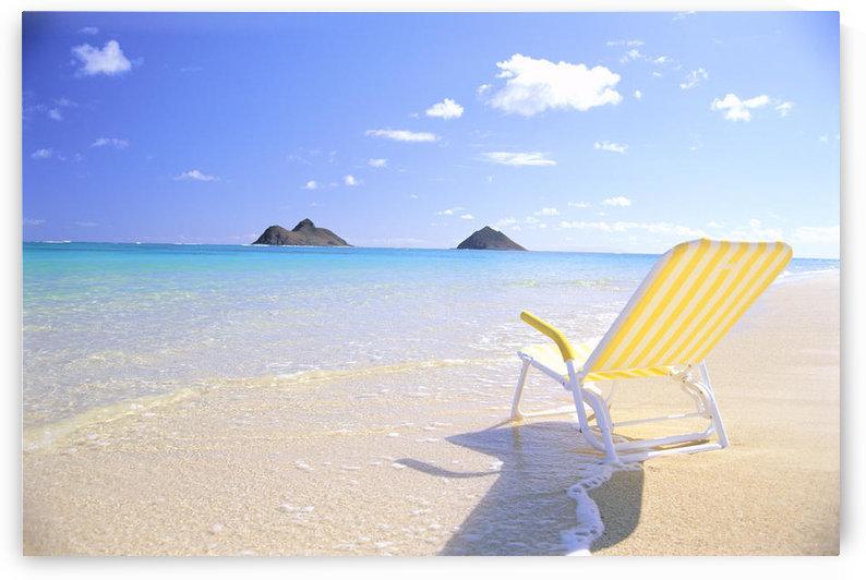 Hawaii, Oahu, Lanikai Beach, Empty Yellow Beach Chair, Clear Shore Water, Blue Sky by PacificStock