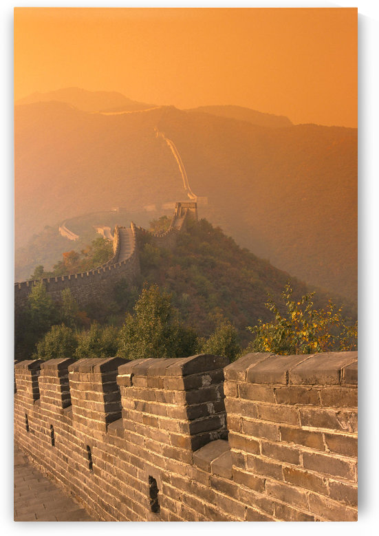 China, The Great Wall At Hazy Orange Sunset by PacificStock