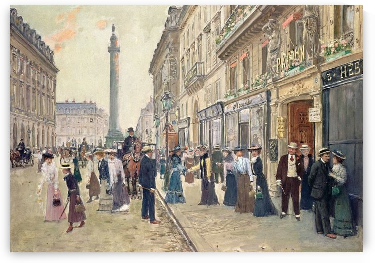 Workers leaving the Maison Paquin by Jean Beraud