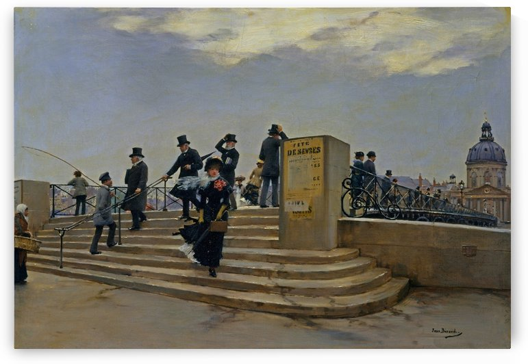 A windy day on the Pont des Arts by Jean Beraud
