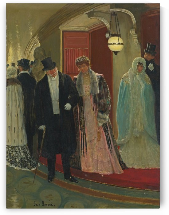 Sortie de loge a l'Opera by Jean Beraud