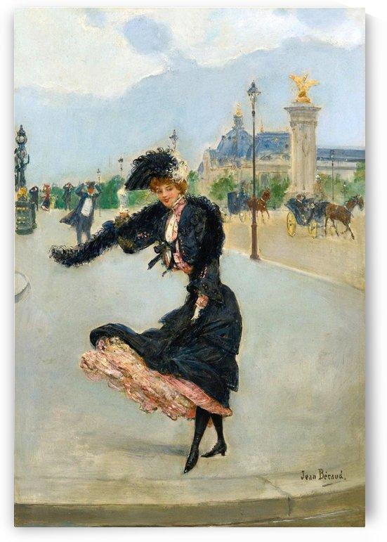 Elegante devant le Grand Palais sur le pont Alexandre III by Jean Beraud