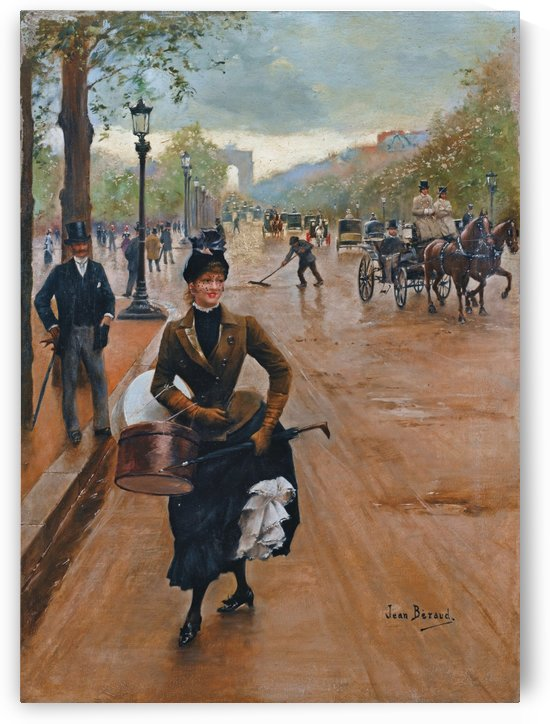 The dressmaker on the Champs Elysees by Jean Beraud