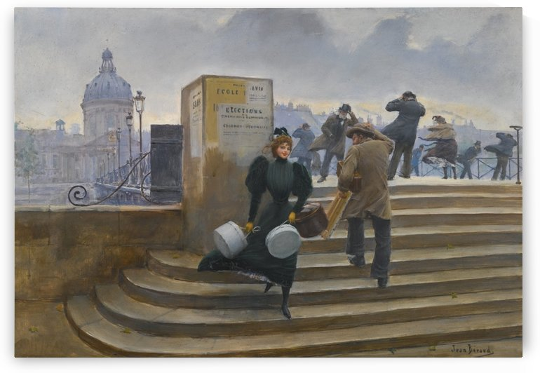 Modiste sur le Pont des Arts by Jean Beraud