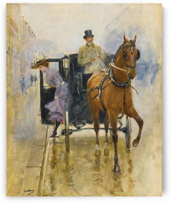 Young woman getting down from a carriage by Jean Beraud