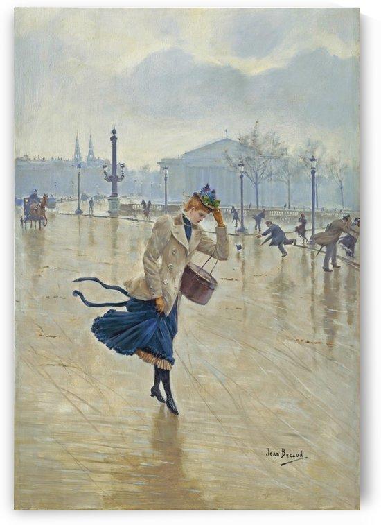 A Windy Day - Place de la Concorde, 1890 by Jean Beraud