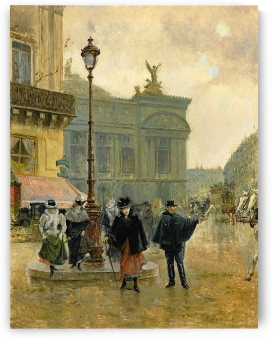 Ladies walking on the boulevard during a rainy day by Jean Beraud