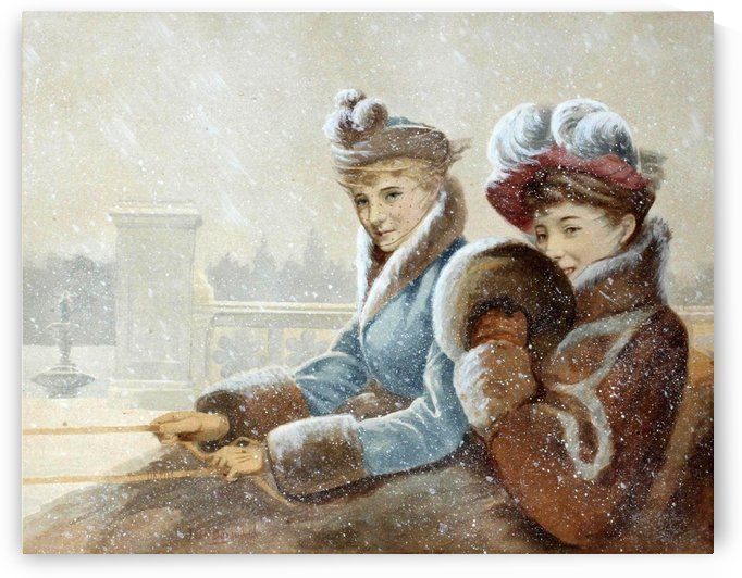 Riding in a sleigh by Jean Beraud