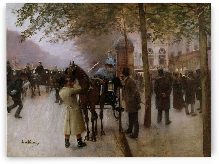 Evening in front of the Cafe Napolitain by Jean Beraud