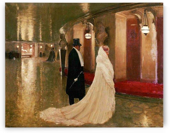 An elegant couple entering a box at the Paris Opera by Jean Beraud