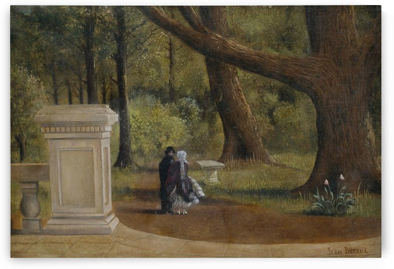 Couple walking in the park by Jean Beraud