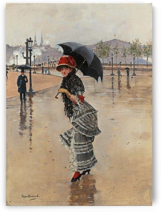 Parisienne un jour de pluie, place de la Concorde by Jean Beraud