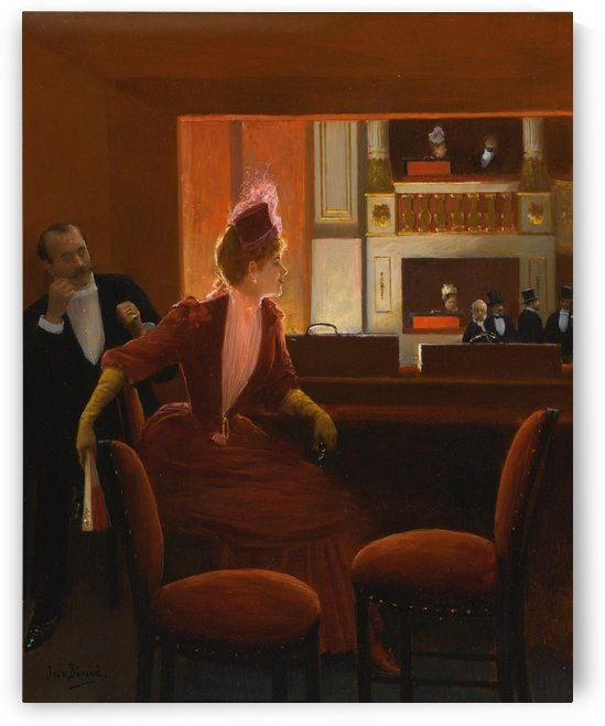 Lady in red at the Opera by Jean Beraud