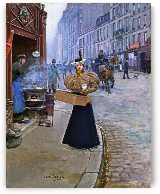The roasted chestnut seller by Jean Beraud