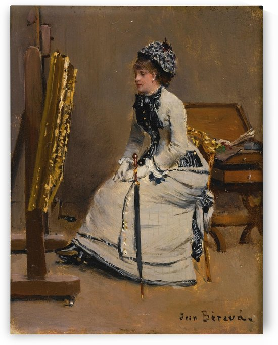 Lady with blue hat inside the artist studio by Jean Beraud