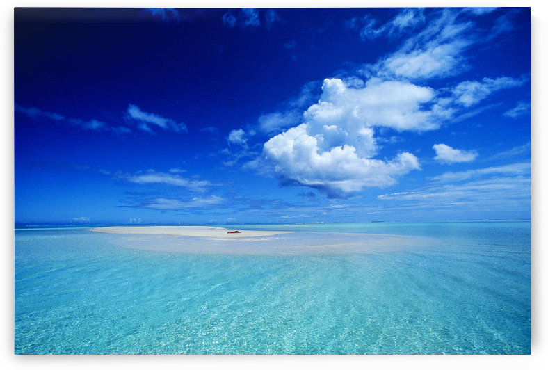 French Polynesia, Bora Bora, View Of Turquoise Lagoon Sand Bar In Center Of Water by PacificStock