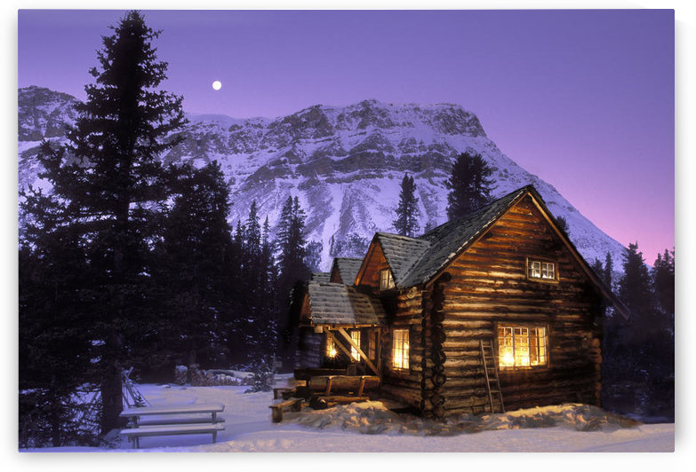 Jerry Kobalenko; Skoki Cabin Banff National Park, Cabin At Night In The Mountains by PacificStock