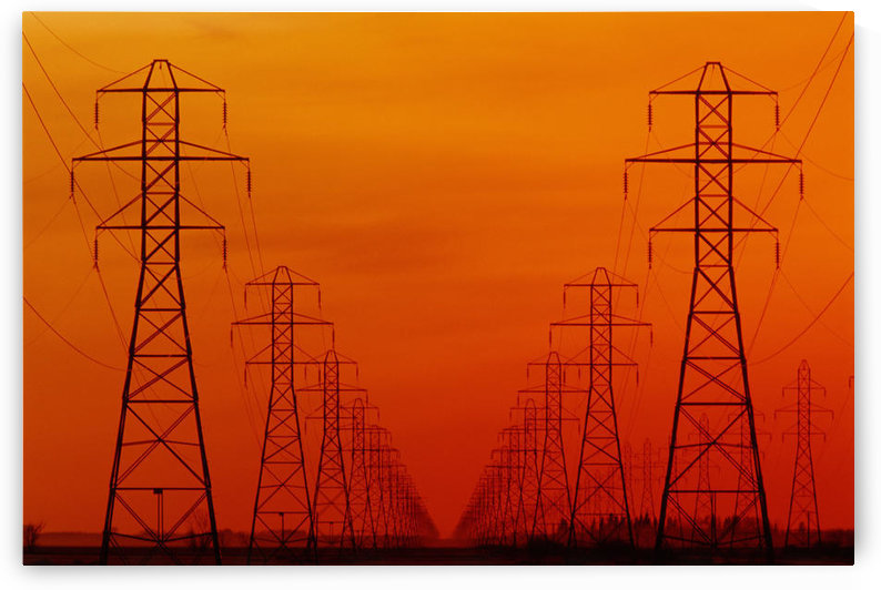 Hydro Power Lines And Towers, Glass, Manitoba by PacificStock