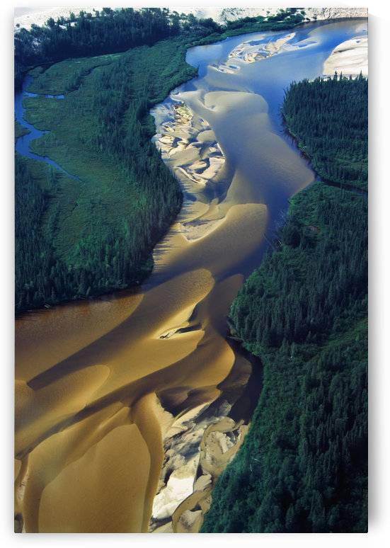 Aerial View Of Williams River That Runs Through Athabaska Dune Fields, Northern Saskatchewan. by PacificStock
