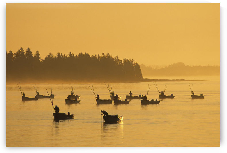 Oyster Fishers At Sunrise, West River, Prince Edward Island. by PacificStock