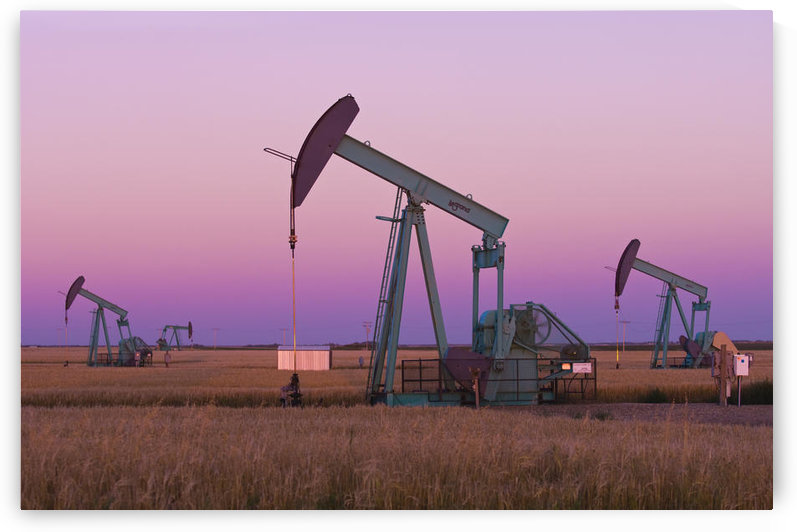 Oil Pump Jacks On Canadian Prairie At Dusk, Carlyle, Saskatchewan by PacificStock