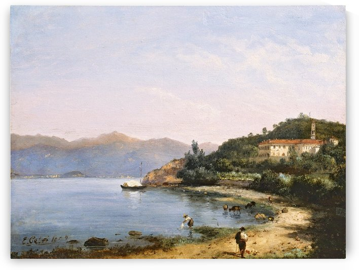 Figures and cattle along an Italian lake, 1859 by Ercole Calvi