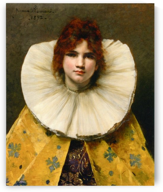 Portrait of a young girl with a ruffled collar by Juana Romani