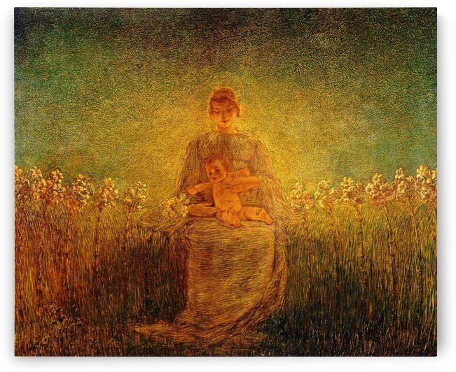 Mother with baby surrounded by flowers by Gaetano Previati