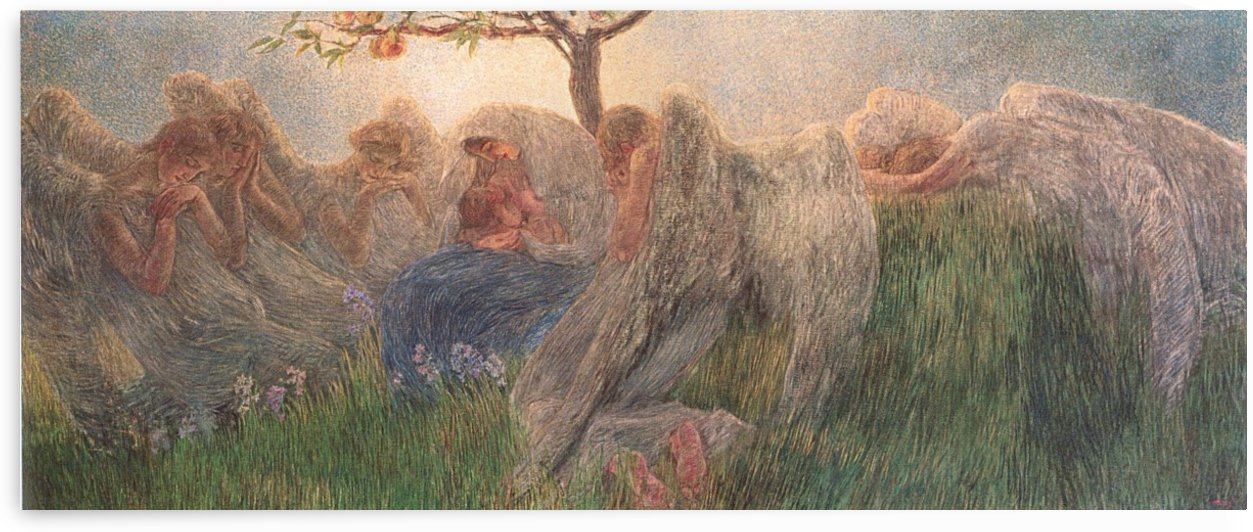 Mother with baby surrounded by angels by Gaetano Previati