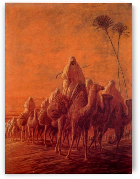 Caravan in desert by Gaetano Previati