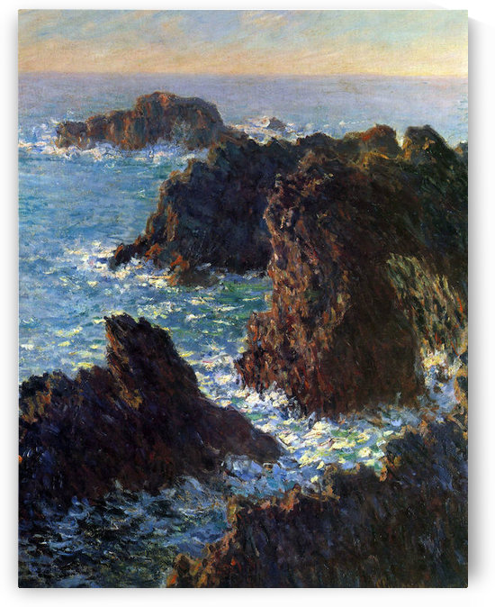 Rocky peaks at the Belle-Ile by Monet by Monet