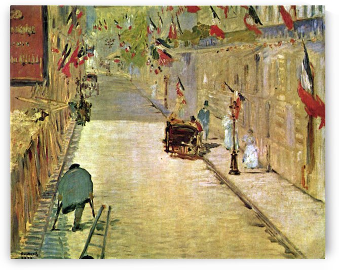 Rue Mosnier with Flags by Manet by Manet